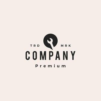 Serviço conversa chave inglesa bate-papo bolha cliente hipster logotipo vintage ícone ilustração vetorial