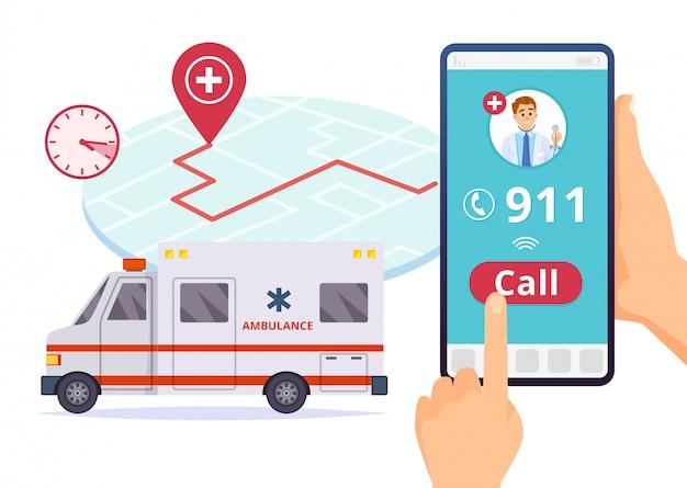 Serviço da ambulância. chamada de emergência urgente do hospital 911