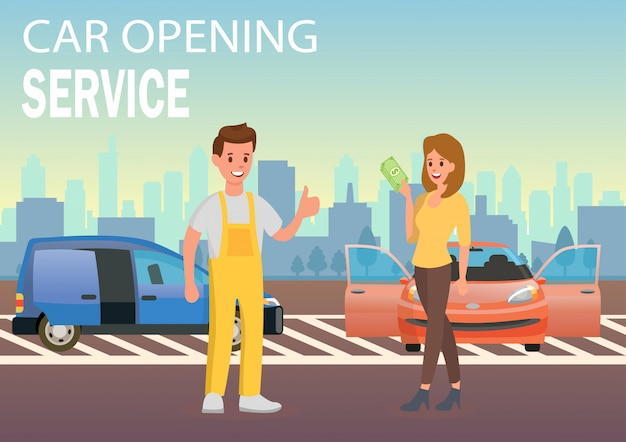 Serviço de abertura de carro. ilustração em vetor plana.