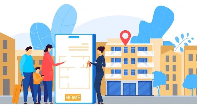 Serviço de aluguel de apartamento on-line, aplicativo móvel, ilustração de pessoas