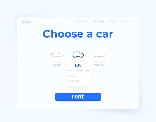 Serviço de aluguel de carros, design de página da web