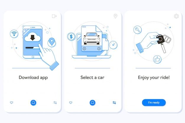 Serviço de aluguel de carros na tela da página do aplicativo móvel para embarque