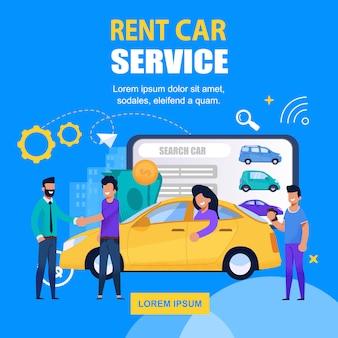 Serviço de aluguel de carros square banner mobile app solution