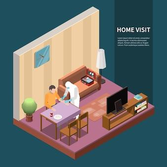 Serviço de análise de diagnóstico laboratorial isométrico com visão interna da visita de médicos especialistas à casa dos pacientes