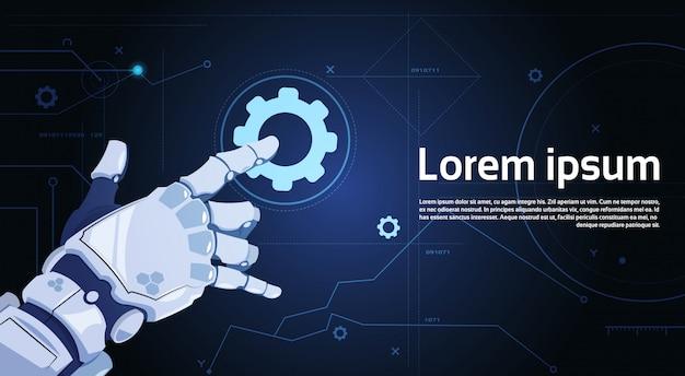 Serviço de apoio técnico robótico da engrenagem do toque da mão e conceito da inteligência artificial
