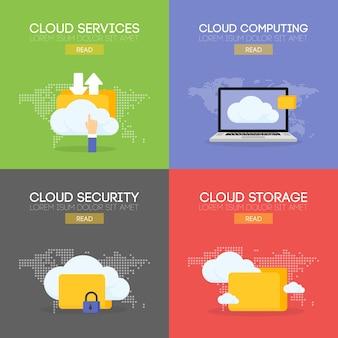 Serviço de armazenamento coputing em nuvem e conceito de banner de segurança.