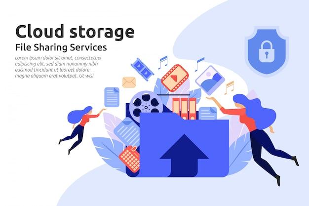 Serviço de armazenamento em nuvem. serviço de centro de compartilhamento de arquivos