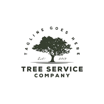 Serviço de árvore / logotipo vintage paisagem residencial