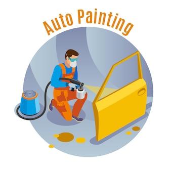 Serviço de automóveis com ilustração isométrica de símbolos de serviço de pintura automática
