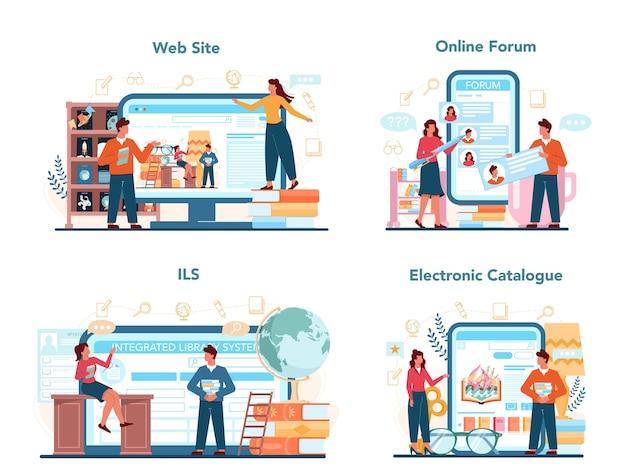 Serviço de bibliotecário online ou conjunto de plataforma