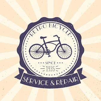 Serviço de bicicleta retrô e reparação, logotipo vintage, emblema com bicicleta velha