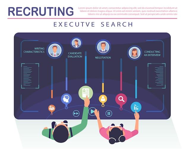 Serviço de busca de executivos de recrutamento de banner simples.