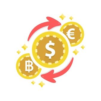 Serviço de câmbio de moeda. mercado de criptomoedas para troca.