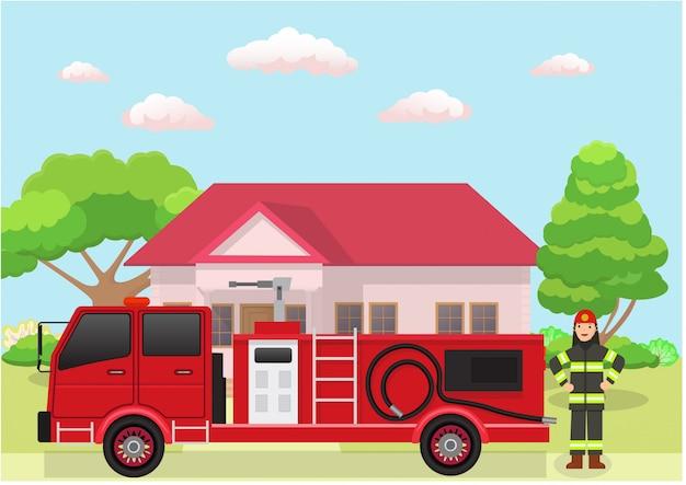 Serviço de caminhão de bombeiros.