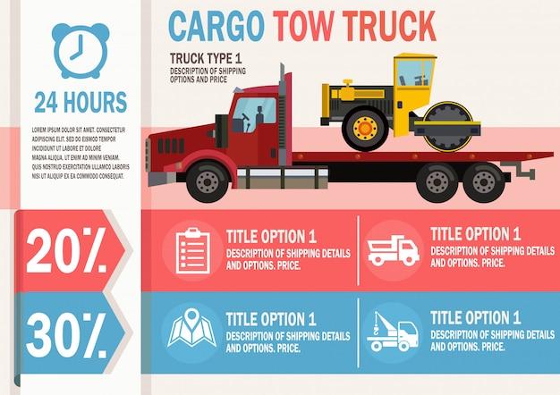 Serviço de caminhão de reboque de carga. ilustração em vetor plana.