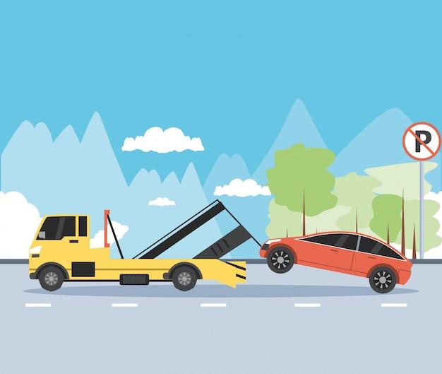 Serviço de caminhão guindaste na cena da zona de estacionamento