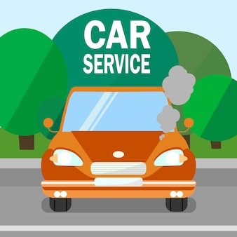 Serviço de carro, banner de manutenção do motor