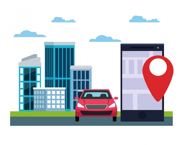 Serviço de carro de localização por gps