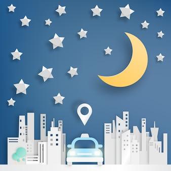 Serviço de carro de táxi no estilo de arte de papel da cidade