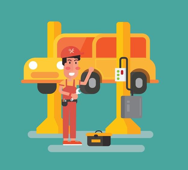 Serviço de carro e manutenção de reparação - carro no elevador