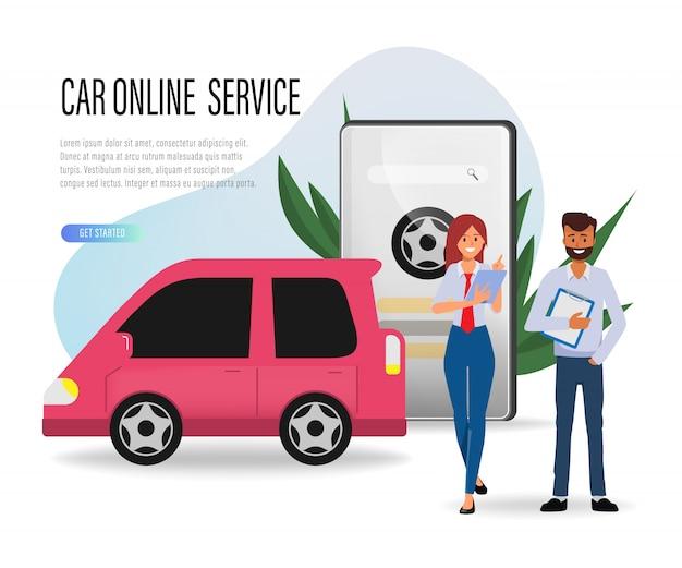 Serviço de carro e pessoas de vendedor apoiam a reivindicação de seguro de carro.