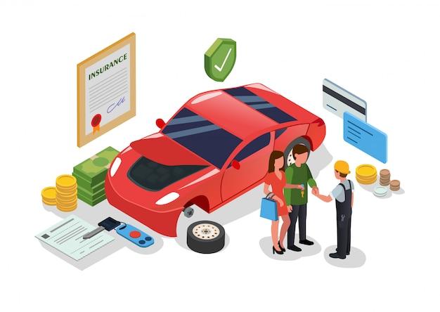 Serviço de carro e reparação de edifício ou garagem plana.