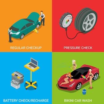 Serviço de carro verificação regular de pressão verificar bateria recarregar biquíni lavagem de carro