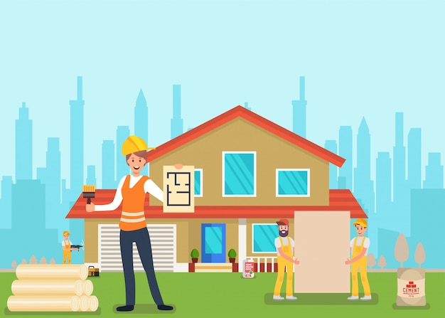 Serviço de casa profissional de obras exteriores