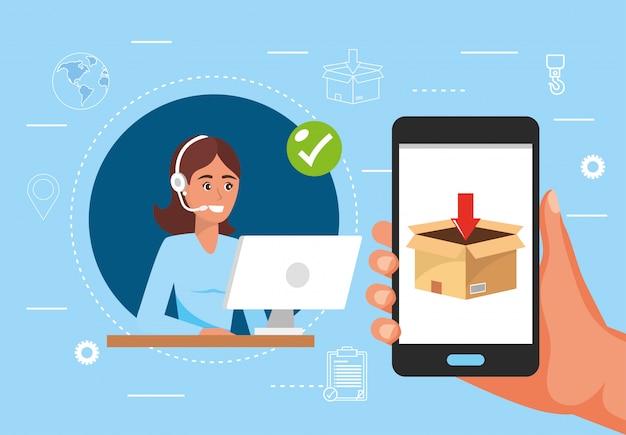 Serviço de centro de chamada de mulher e mão com distribuição de smartphone e caixa