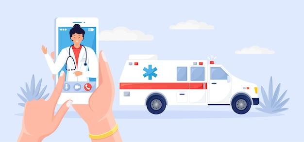Serviço de chamadas de emergência. carro de ambulância e telefone para médico.