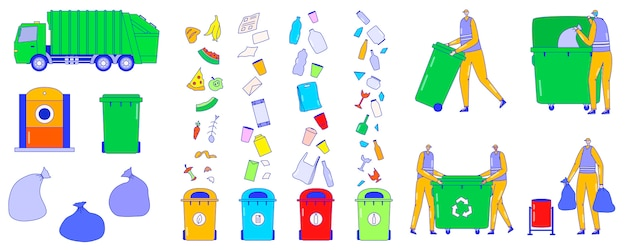 Serviço de coleta de lixo, classificação de ícones do lixo, personagens de desenhos animados de pessoas, ilustração
