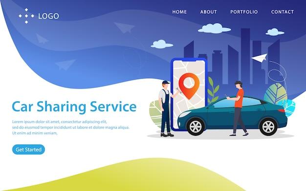 Serviço de compartilhamento de carro, ilustração vetorial de site