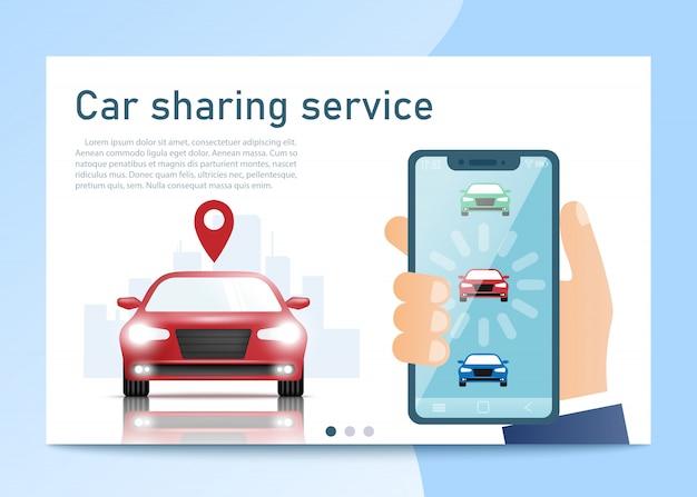 Serviço de compartilhamento de carros. smartphone em pé perto do carro