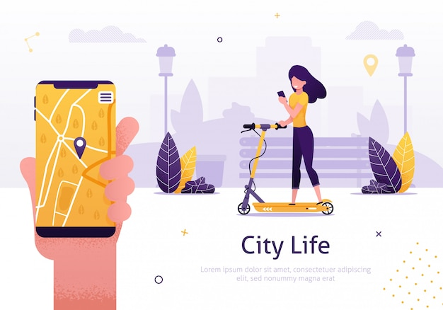 Serviço de compartilhamento e aluguel de scooter para aplicativos móveis