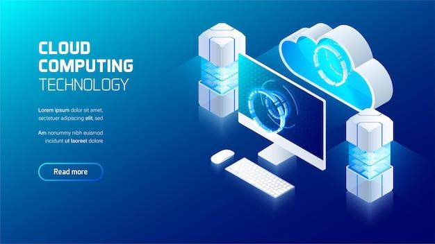 Serviço de computação em nuvem, sala do servidor com conexão ao dispositivo do usuário