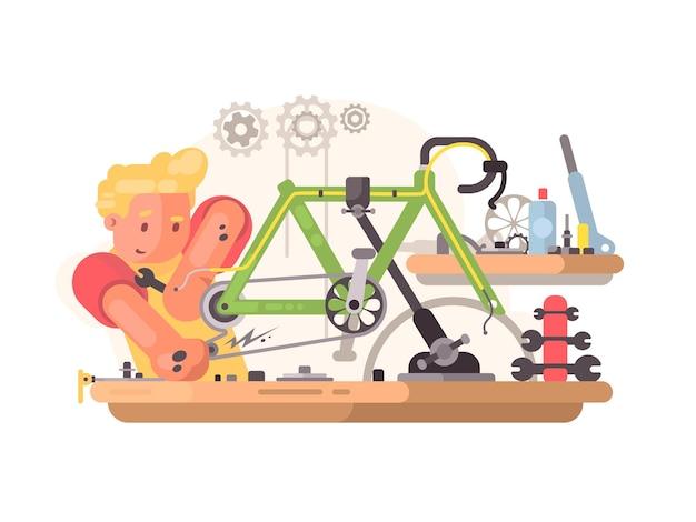 Serviço de conserto de bicicletas. mestre regula e ajusta a bicicleta. ilustração vetorial