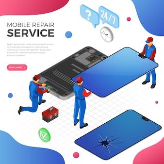 Serviço de conserto de celular com pessoas em uniforme conserta tela de smartphone quebrada
