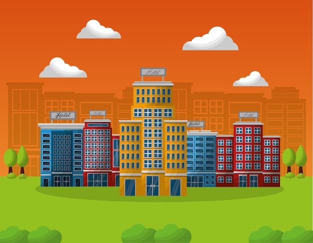 Serviço de construção de hotéis em paisagem natural
