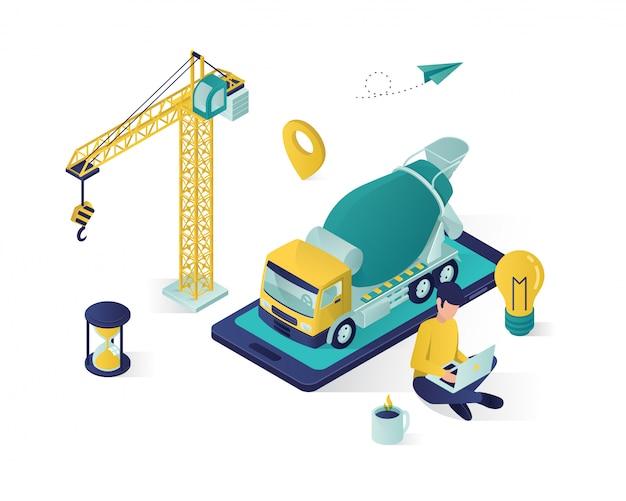Serviço de construção online isométrico