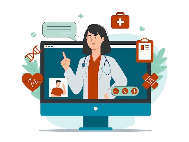 Serviço de consulta médica online com paciente e médica na tela do computador