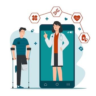 Serviço de consulta médica online com paciente e médica na tela do smartphone
