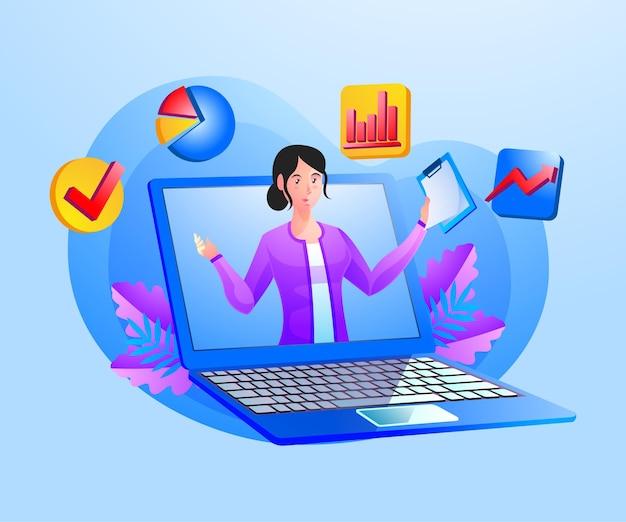 Serviço de consultoria de negócios com mulher e símbolo de laptop
