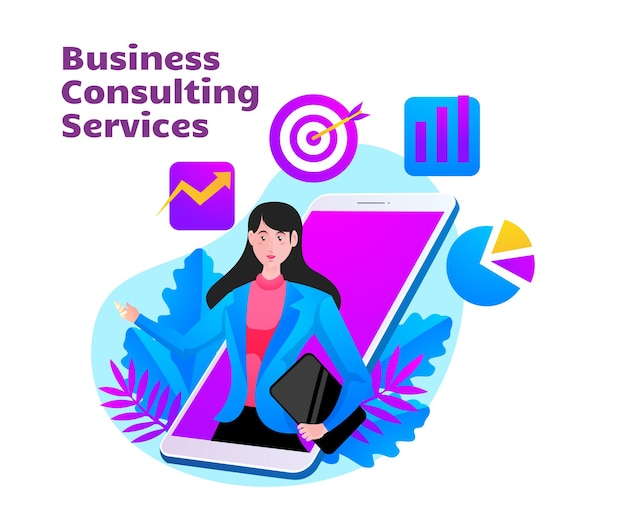 Serviço de consultoria de negócios com mulher e símbolo de smartphone móvel