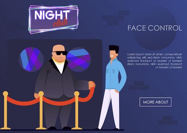Serviço de controle de rosto para a página de boate do night club