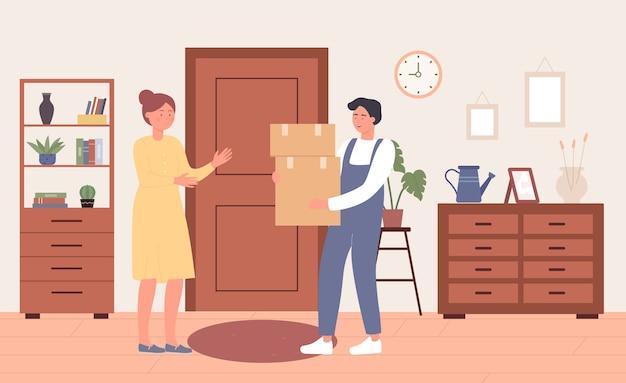Serviço de correio de entrega rápida on-line na porta de casa pelo correio