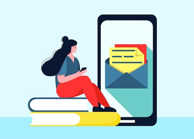 Serviço de correio, e-mail, envio de notificações por e-mail, novo sms recebido, envelope, rede social, chat, spam. ilustração em estilo plano cartoon