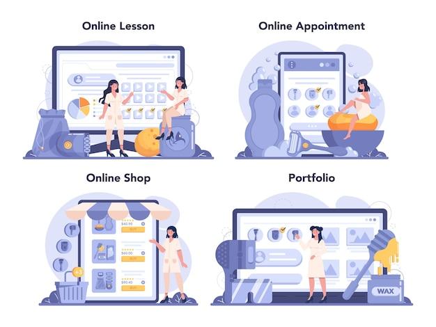 Serviço de depilação e depilação online ou conjunto de plataformas