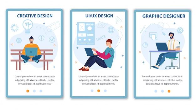 Serviço de designer de computador para oferta de conjunto de páginas móvel