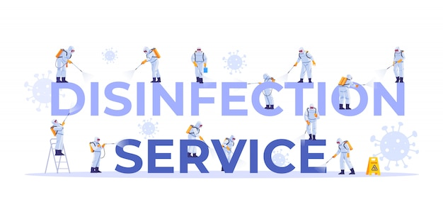 Serviço de desinfecção. conjunto de conceito de poses diferentes de funcionários da empresa de limpeza, para página da web, banner, apresentação, mídia social, documentos, cartões, cartazes. pandemia do coronavírus. ilustração. Vetor Premium