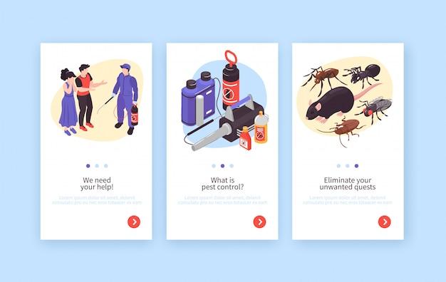 Serviço de desinfecção de higiene de controle de pragas banners verticais isométricos conjunto com ratos insetos especialistas clientes equipamentos
